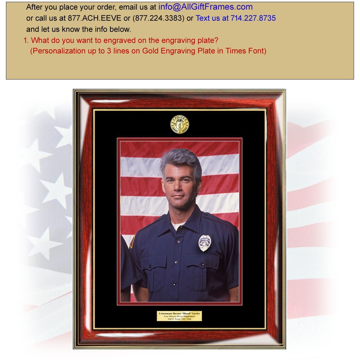 Police Officer Picture Frame 8x10 Sheriff Photo Plaque Law ...
