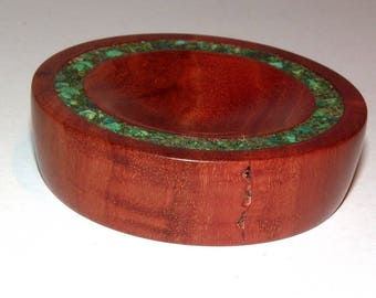 Spindle Support Bowl with Malachite Stone Inlay (583)