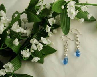 Sterling drop earrings with blue crystal - Special occasion earrings - Holiday earrings - Sterling dangle earrings - wedding jewelry