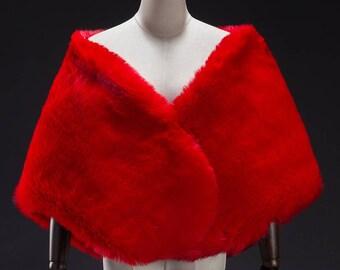 Red Large Faux Fur Wrap, Bridal Fur Stole, Fur Cape, Wedding stole fur, Faux Fur Shrug, Faux Fur shawl