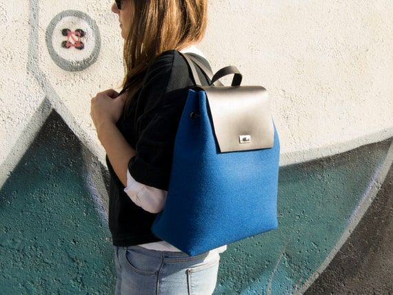 Felt and leather women's BACKPACK / blue backpack / felt backpack / satchel backpack / wool felt / womens backpack