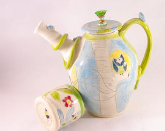 Ceramic Teapot Tea Pot Set Tea Set Coffee Pot Tea Pourer 9th Anniversary Gift Aspen Tree Art  Kitchen Decor Ewer Ceramics and Pottery