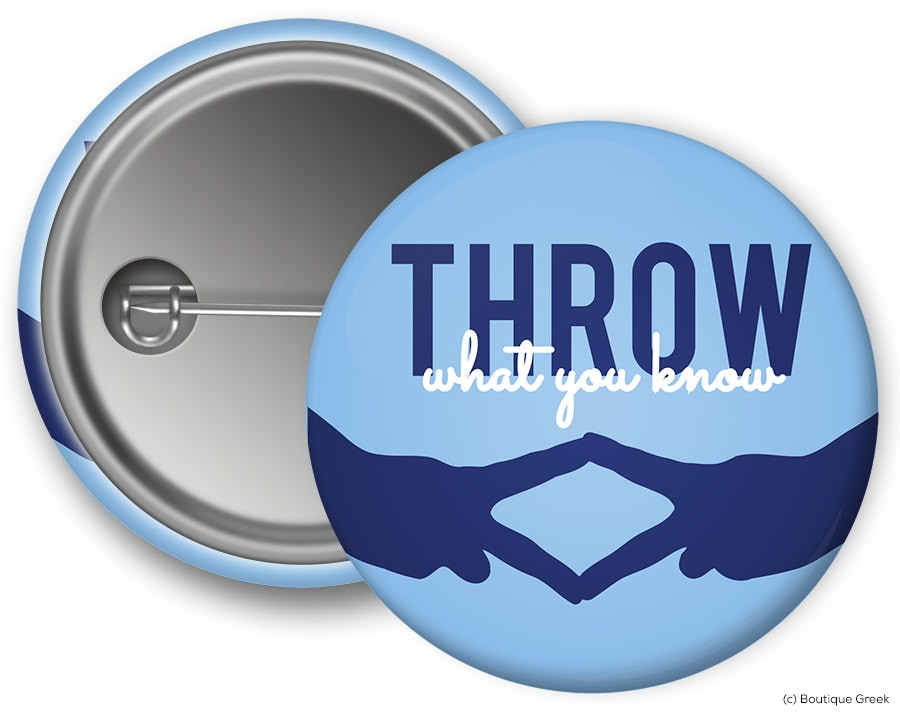 Alpha Delta Pi Throw What You Know Sorority Greek Button