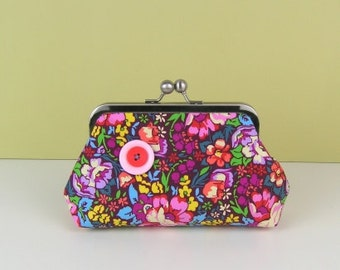 Floral fabric clutch purse, Colourful fabric Clutch purse, Evening purse, Wedding clutch purse,