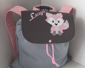 Backpack child personalized (name, pattern) size 2/3 years Fox pattern