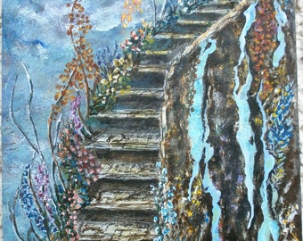 Stairway to Heaven-acrylic on slate cm 20x30-painting hand-painted ladder stocking stuffer