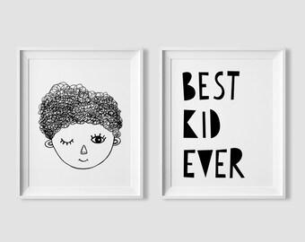 Best kid ever, kids room decor, printable wall art quote, boys room decor, nursery print set, nursery decor, playroom decor, printable art