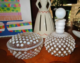 Vintage 1940s Anchor Hocking HOBNAIL Vanity Powder Box and  Perfume Bottle White and Clear Glass Hobnail with Glass Stopper