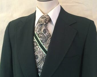 1970s Combo Suit - Matched Jacket and Slacks - Green Blazer - Polyester Khaki Pants - Disco Tie - Casual - Hipster - Disco - 42R Medium