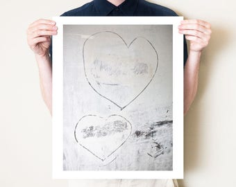 Modern love. Romantic abstract photograph of two hearts. Valentine's Day street art print. Fine art photographic artwork. Sizes 5x7 to 30x40