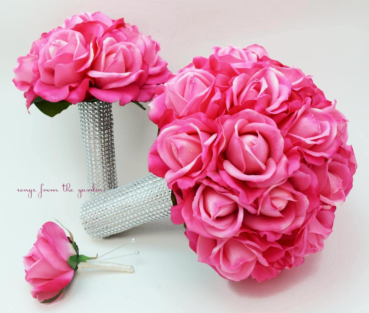 Pink Wedding Flowers: Bridal Bouquet Real Touch Roses Hot Pink Wedding Bouquet Real