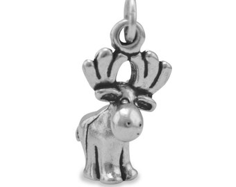 Sterling Silver Oxidized Cute Moose Charm