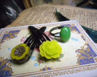 Garden Medley. Mismatched Curious Collection / Jade Green Aventurine ring & Chartreuse Lemon-Lime Floral Barrette Hair Clips. Spring sprigs