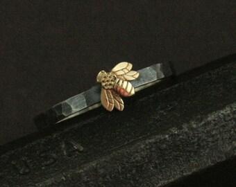 Queen Bee Ring--Honig Biene mir--14K Gelb Gold-Biene-Ring - Silber Ehering--Natur inspiriert Ring - Versprechen Ring--gehämmert Silber Ring