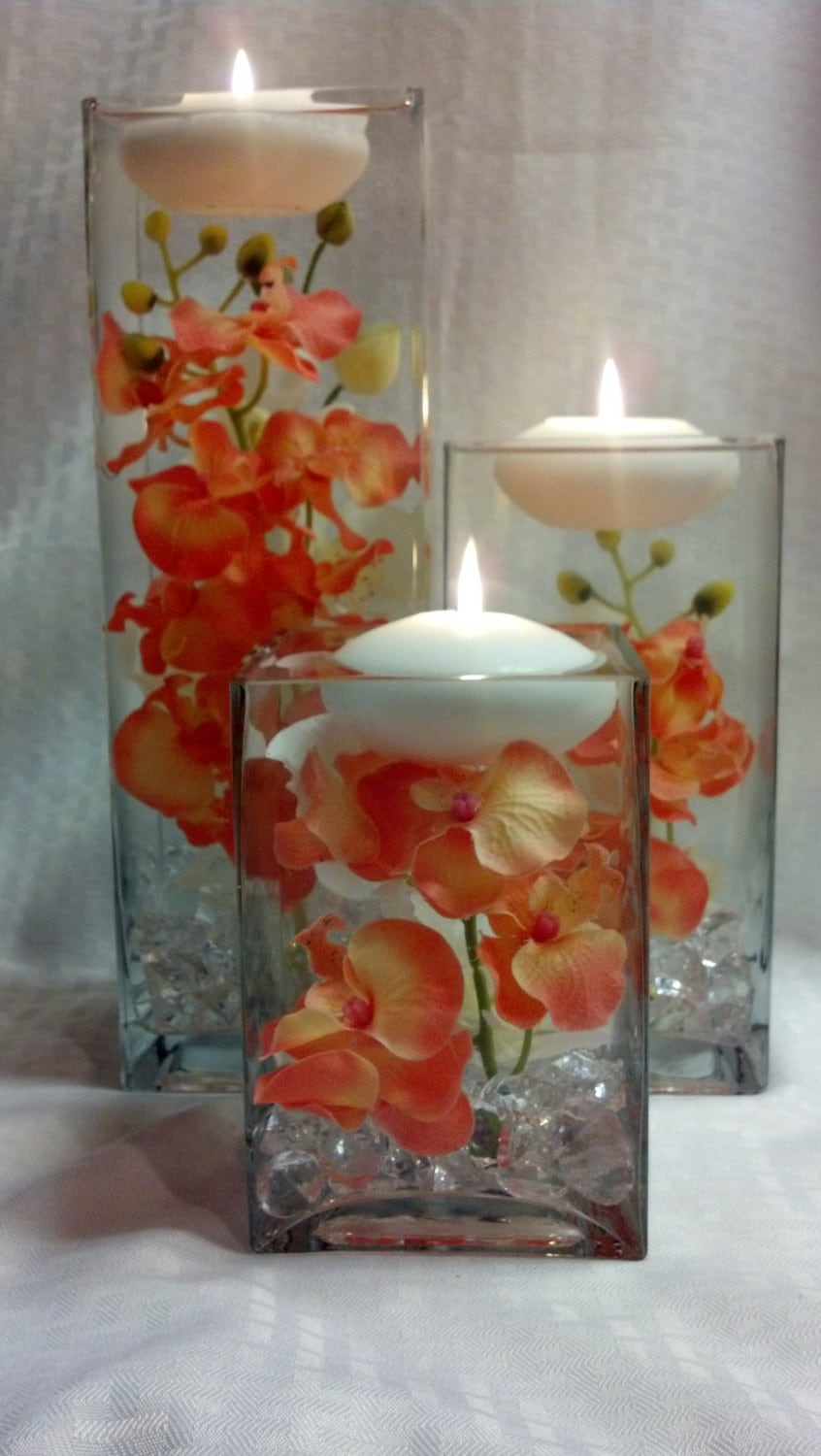 Three square vases with coral orchids and floating zoom reviewsmspy