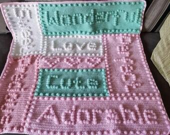 Baby blanket crochet, word blanket, baby shower blanket, new baby blanket, crocheted blanket, pastel blanket, baby girl blanket, boy blanket