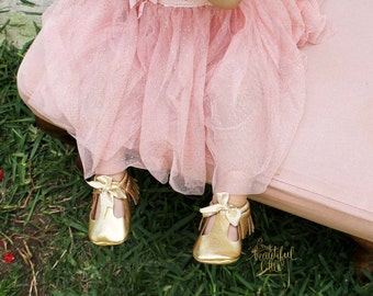 Mary janes gold baby shoes baptism shoes christening shoes flower girl shoes fancy baby shoes baby girl shoes toddler girl shoes gold bow