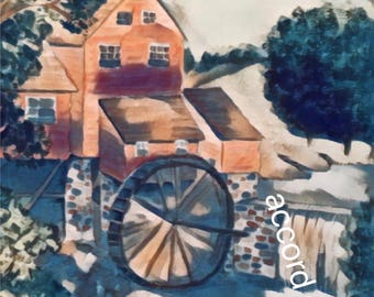 Painting of Mill House and Water Wheel