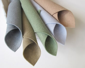 100% Wool, Felt Set, Rolling Stone Color Story, 8x12 Inch Sheets, Grey, Beige, Grey Green, Taupe, Silver Grey, Felt Fabric, Neutral Colors