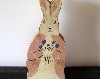 Vintage Easter Bunny - Primitive Wooden - Hand Painted