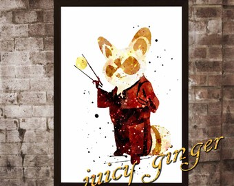 Master Shifu Poster, Kung Fu Panda Watercolor, Home Decor, Art Print, instant download, digital printing, watercolor printing