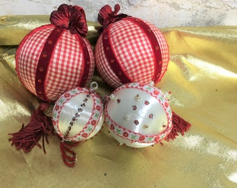 Vintage Christmas Ornament Collection of 4 Handmade Jeweled Mid-century Red White