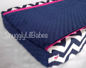 Navy chevron, pink changing pad cover with navy minky dot