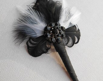 TATE ~ Art Deco Black and White Feather with Black Glass Detail Boutonniere