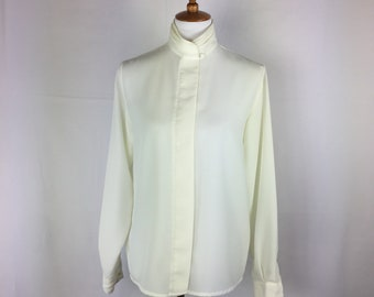 90's Vintage long Sleeves Cream Polyester Blouse