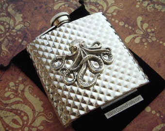 Silver Octopus Flask Diamond Pattern Nautical Steampunk Flask Gothic Victorian Vintage Inspired Stainless Steel Men's Gifts For Her