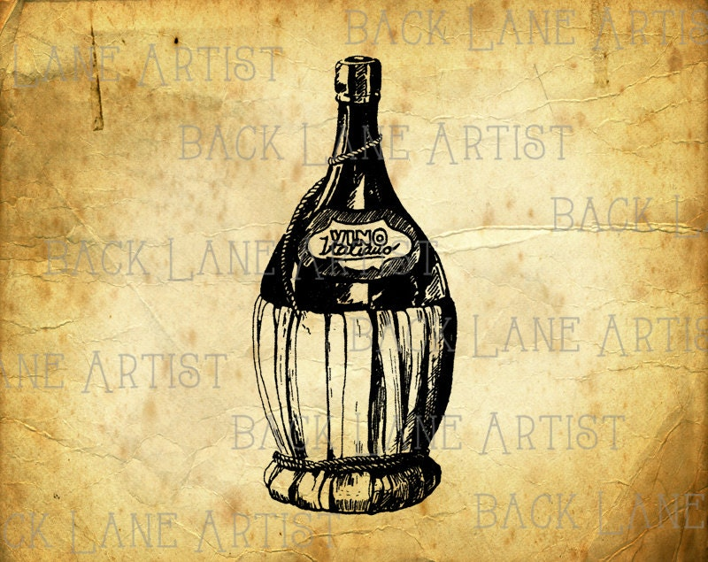Vintage Champagne Wine Bottle Clipart Lineart Illustration