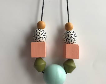 wooden bead necklace - pink, yellow, aqua, green (geometric, faceted, retro, 80s)