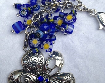BLUE ZENtangle Purse Charm | Backpack Charm | Belt Charm | Flower Purse Charm | Gift for Her | Flower Valentine Gift | Mothers Day Gift