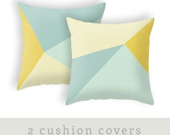 SET of 2 Teal and yellow cushion cover teal and yellow throw pillow teal home decor teal cushion teal pillow teal throw pillow teal decor