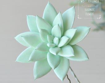 Succulent Hair pin Wedding bridal hair Mint green wedding Mint wedding Succulents Wedding hair jewelry hair accessories Flower for hair