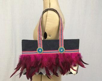 Embellished denim shoulder tote bag