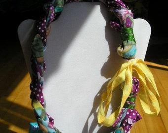 JAELYN Chunky Boho Handmade Braided Fabric Necklace Blue Purple Yellow Pink Polka Dots