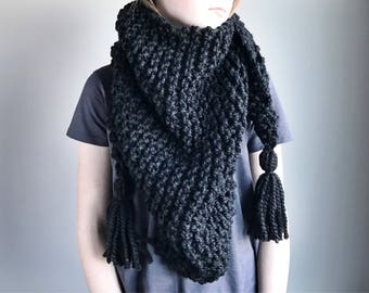 Triangle Scarf / Triangle Tassel Scarf / Womens Scarf / Winter Scarf / Cozy Winter Accessory / Knit Scarf / Knit Shawl