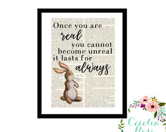 Once You Are Real You Cannot Become Unreal It Lasts For Always The Velveteen Rabbit Margery Williams Nursery Book page Box Framed or Print