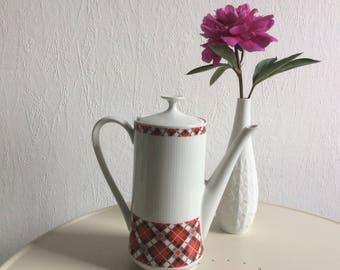Tea pot coffee pot tartan decor vintage german porcelain