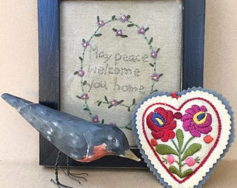 May Peace Welcome You Home-A Vintage Framed Needlework With Country Appeal