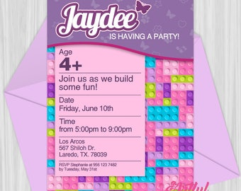 Printable Friends Building Blocks Invitation | Personalized