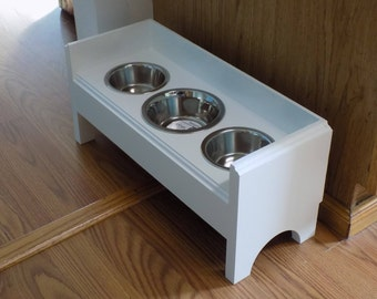 Raised 3 Bowls Pet Feeder,1 (2cup)and 2(1 cup)with backsplash,Handmade Wooden For Dogs and Cat,Feeder Stand,feeder backsplash