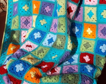 Crochet afghan Kaleidoscope rainbow granny square handmade blanket Cath Kidston colors, extra long colorful Granny squares, Ready to ship