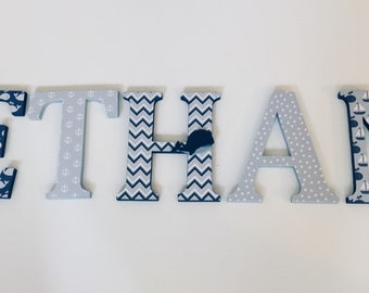Wood Letters-Nursery Decor-Navy Blue & Grey Whale, Nautical Themed-Price Per Letter-Custom made -Other Colors available