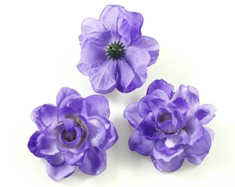 Set of 3 artificial flowers without stem 5.5 cm - purple