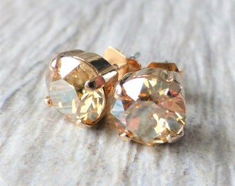 Goldenen Champagner Swarovski Ohrstecker, Kristall Strass Rose Gold Ohrstecker, Rose Gold rund, Diamantschliff, Geschenk für sie, Brautjungferngeschenke