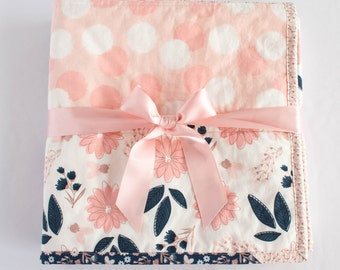 Navy and Blush Floral Quilt, Handmade Baby Girl Quilt, Patchwork Baby Quilt with Blush Pink Flowers, Polka Dots & Stripes Navy Blue and Gold
