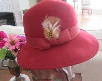 1940s Stylish Unused Hat  with Tall Hat Body + Feather
