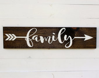 Family Arrow Rustic Sign | Family Sign | Family Signs | Arrow Decor | Entryway | Gift under 25 | Follow Your Arrow | Housewarming | Wedding